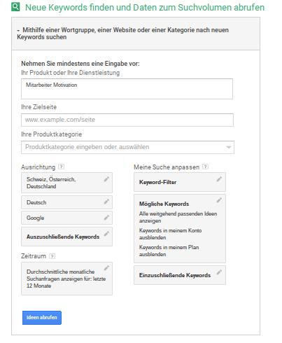 Keyword Planer – Google AdWords
